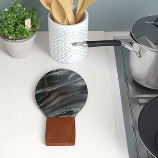 Marble and Acacia Wood Spoon Rest ByMint Pantry