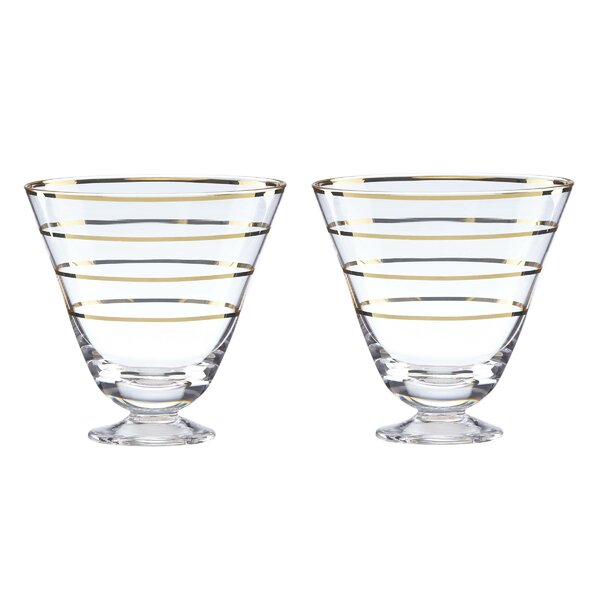 Melrose Avenue Gold Stripe Cocktail Glasses, Set of 2 (Set of 2) by kate spade new york