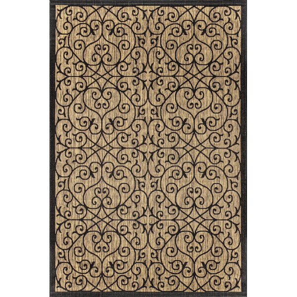 Haggerty Filigree Textured Weave Black Indoor/Outdoor Area Rug by Winston Porter