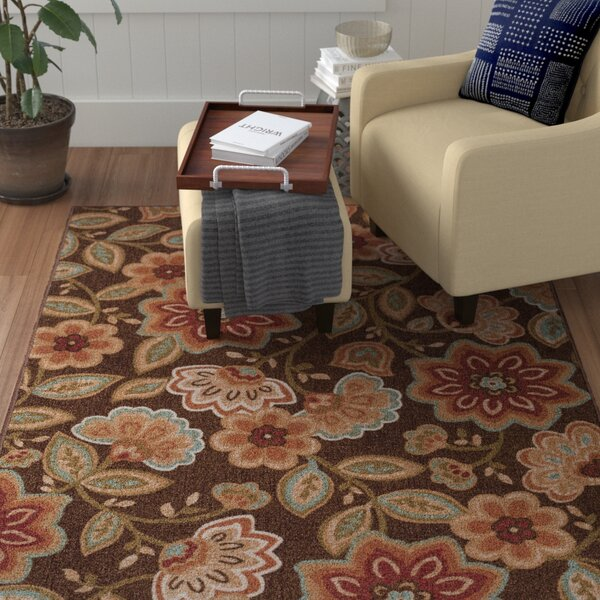 Hosking Cream Floral Area Rug by Winston Porter