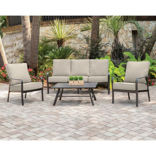 Colson 4-Piece Commercial-Grade Patio Seating Set with 2 Cushioned Club Chairs Sofa and Slat-Top Coffee Table by Gracie Oaks