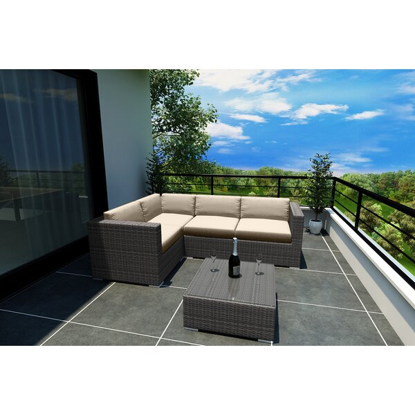 Hobbs 5 Piece Sunbrella Sectional Set with Cushions by Rosecliff Heights