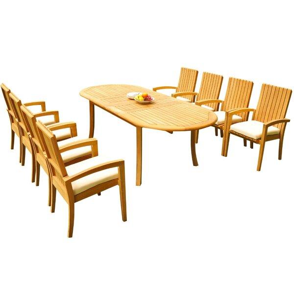 Willett 9 Piece Teak Dining Set by Bayou Breeze