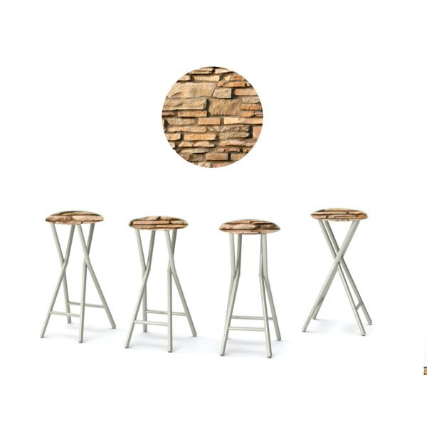 Rock Wall 30'' Patio Bar Stool with Cushion (Set of 4) by Best of Times