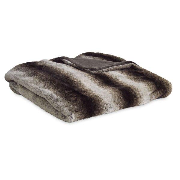 Reversible Striped Mink Faux Fur Throw by Serta