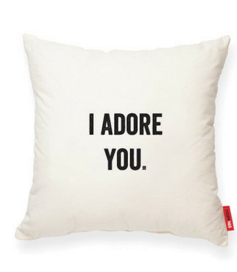 Expressive I Adore You Cotton Throw Pillow by Posh365
