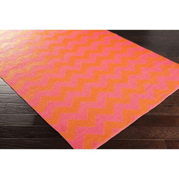Lorene Hand-Woven Bright Pink/Bright Orange Outdoor Area Rug by Zipcode Design