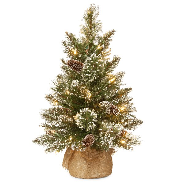 24 Green Pine Artificial Christmas Tree with 15 LED Colored and Warm White Lights with Stand by Laurel Foundry Modern Farmhouse