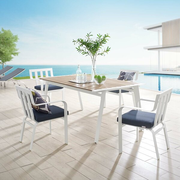 Mevlut 5 Piece Dining Set with Cushions by Ebern Designs