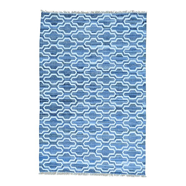 One-of-a-Kind Flat Weave Kilim Hand-Knotted Denim Blue/Ivory Area Rug by Bungalow Rose