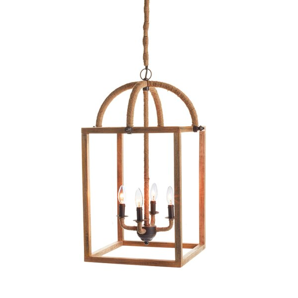 Jairo 4 - Light Lantern Square Chandelier With Rope Accents By Longshore Tides
