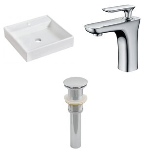 Savings Ceramic Square Bathroom Sink with Faucet By American Imaginations