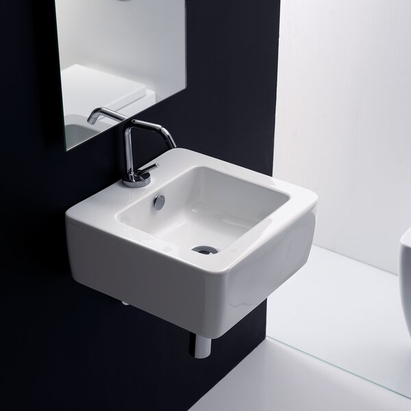 Kerasan Ceramic Square Vessel Bathroom Sink with Overflow by WS Bath Collections
