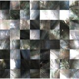 """2"""" x 2"""" Authentic SeaShell Tile Seamless Square Moasic Liner in Gray/Black Mother of Pearl (Set of 25)"""