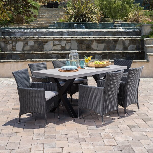 Advika Outdoor 7 Piece Dining Set with Cushions by 17 Stories