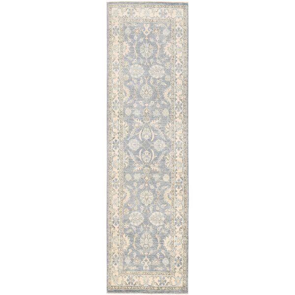 Vegetable Dye Hand-Knotted Gray/Ivory Area Rug by Herat Oriental
