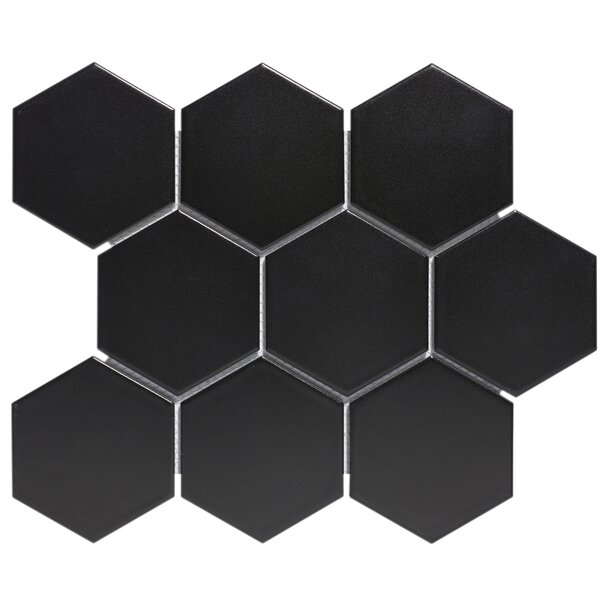 Barcelona 4 x 4 Porcelain Mosaic Tile in Matte Black by The Mosaic Factory