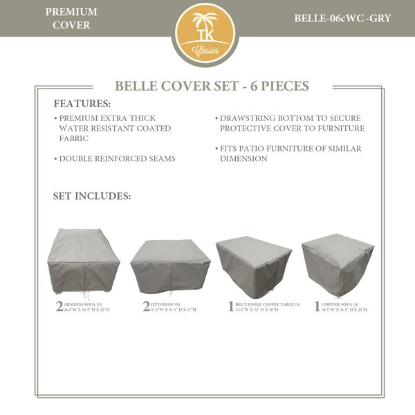 Bee 6 Piece Water Resistant Patio Furniture Cover Set by TK Classics