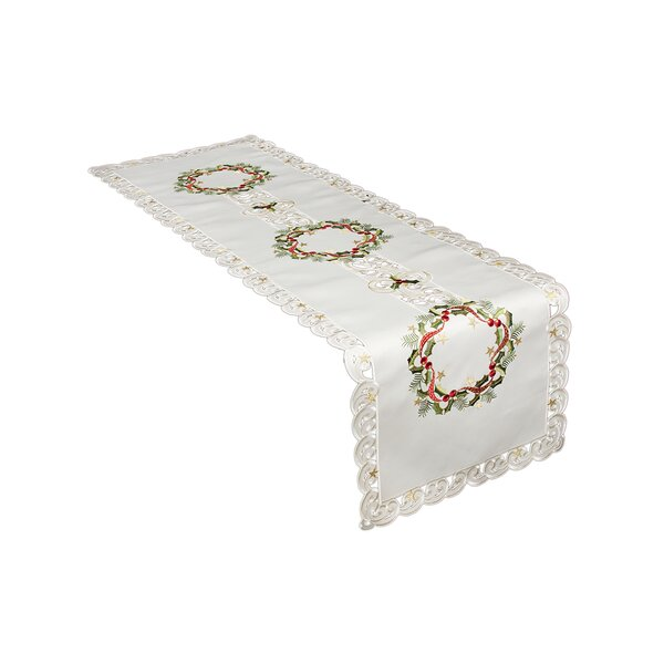 Gala Ribbon Wreath Embroidered Cutwork Christmas Table Runner by Darby Home Co