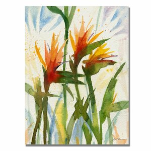 'Birds of Paradise' by Sheila Golden Painting Print on Canvas by Trademark Fine Art