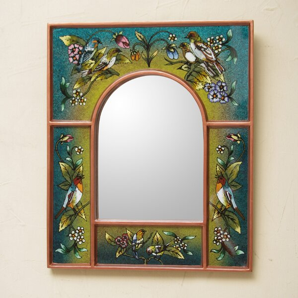 Songbirds on Reverse Painted Glass Wall Mirror by Novica