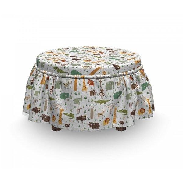 Cartoon Animal Grunge African 2 Piece Box Cushion Ottoman Slipcover Set By East Urban Home