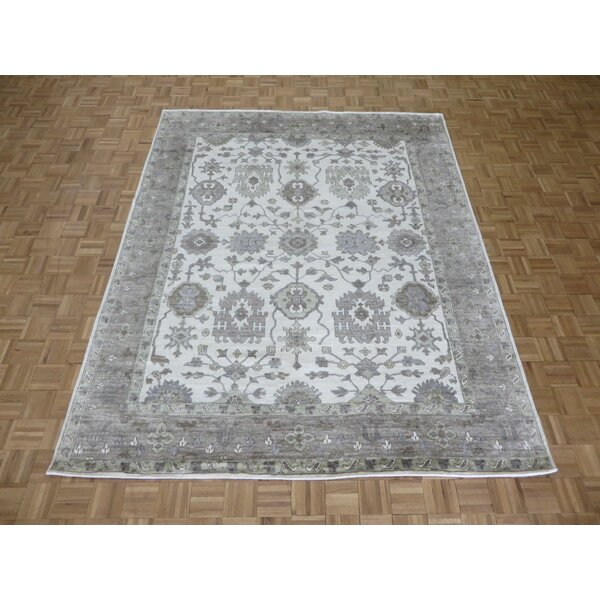 One-of-a-Kind Josephson Oushak Ushak Hand-Knotted Silk Ivory/Gray Area Rug by Canora Grey