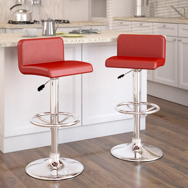 Deen Adjustable Height Swivel Bar Stool (Set of 2) by Orren Ellis
