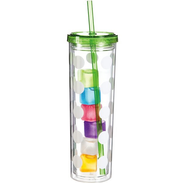 Polka Dots 16 oz. Plastic Travel Tumbler by Cypress Home