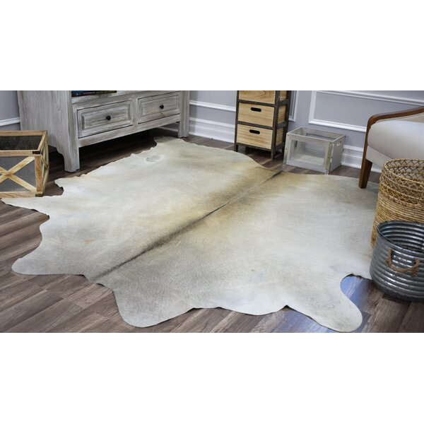 Sarah Hand-Woven Cowhide Gray/White Area Rug by Millwood Pines