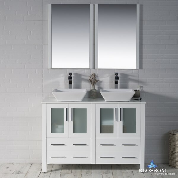 Mance 47 Double Bathroom Vanity Set with Mirror by
