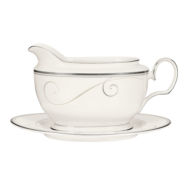 Platinum Wave 18 oz. Gravy Boat with Tray by Noritake