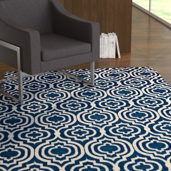 Oak Brook Frame Transitional Trellis Moroccan Blue/Ivory Area Rug by Ebern Designs