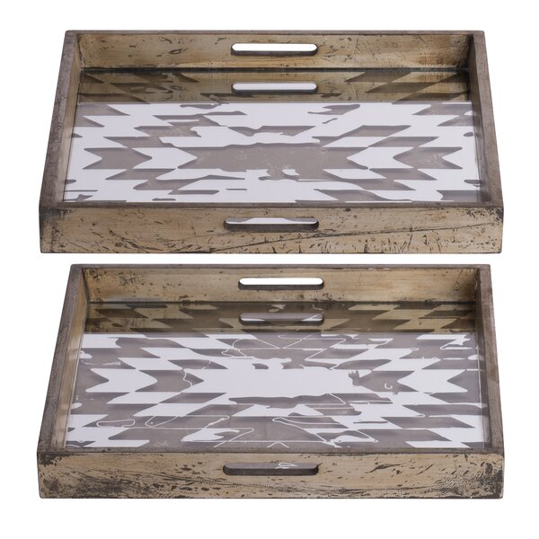 Lovelace Vintage Mirrored 2 Piece Vanity Tray Set by Union Rustic