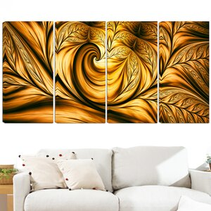 Golden Dream 4 Piece Graphic Art on Wrapped Canvas Set by Design Art