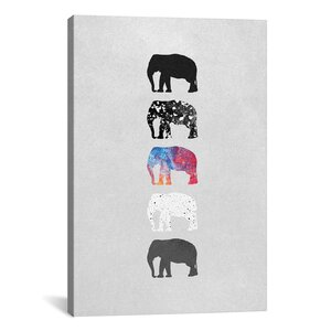 Five Elephants Graphic Art on Wrapped Canvas by Mercury Row