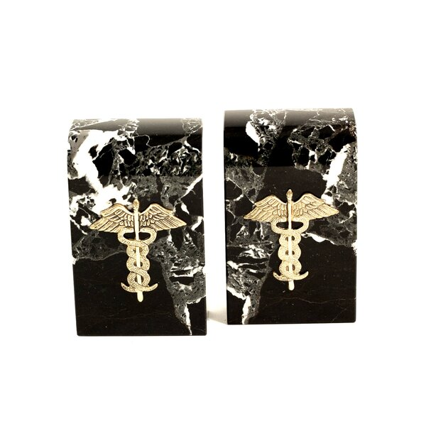 Marble Bookends with Medical Emblem by Bey-Berk