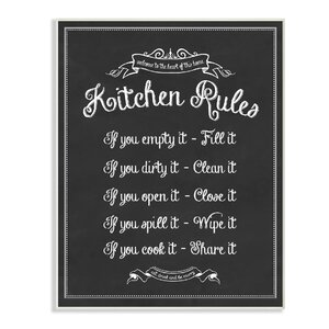 Kitchen Rules Chalkboard' Textual Art by Stupell Industries