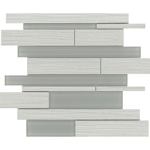 Thread Random Sized Porcelain Mosaic Tile in Silver by Emser Tile