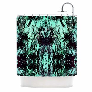 Best Deals 'Abstract Aqua Black' Mixed Media Shower Curtain ByEast Urban Home