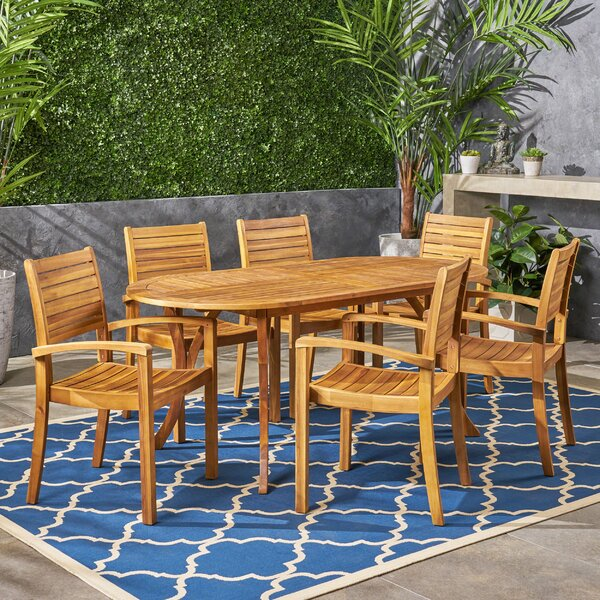 Neligh 7 Piece Dining Set by Bungalow Rose