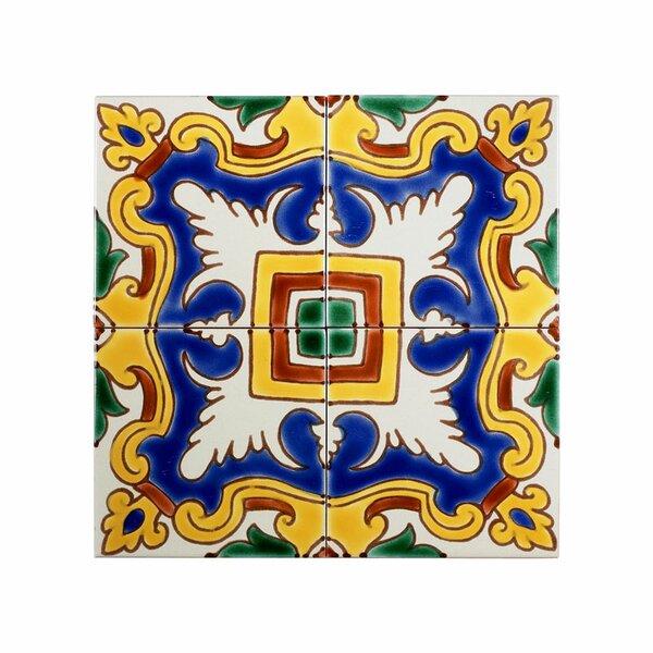 Mediterranean 4 x 4 Ceramic Alicante Decorative Tile in Blue/Yellow by Casablanca Market
