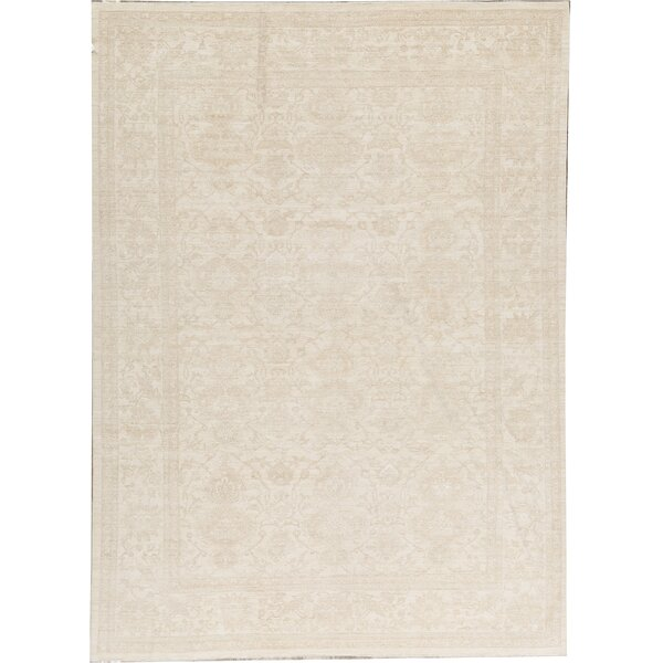 One-of-a-Kind Hand-Knotted Beige 9'11 x 13'6 Wool Area Rug