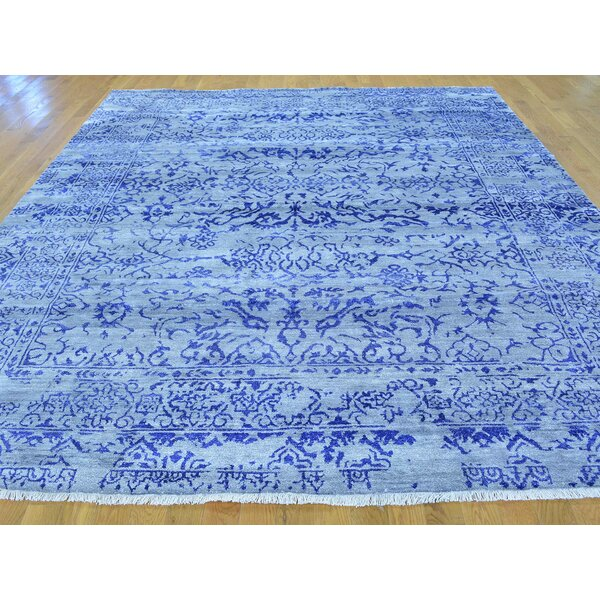 One-of-a-Kind Bean Broken Design Art Handwoven Blue Silk Area Rug by Isabelline
