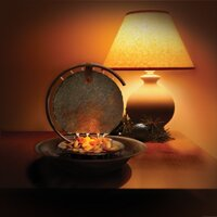 Moonshadow Copper Table Top Fountain with Light by Bluworld