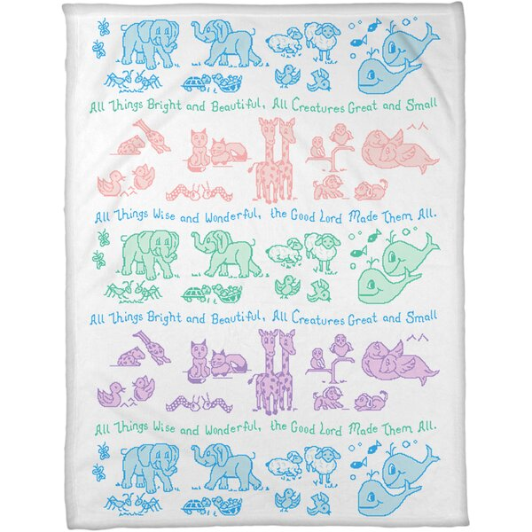 All Creatures Coral Fleece Throw by Manual Woodworkers & Weavers