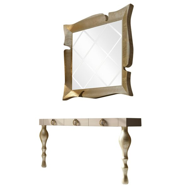 Laivai Solid Wood Console Table and Mirror Set
