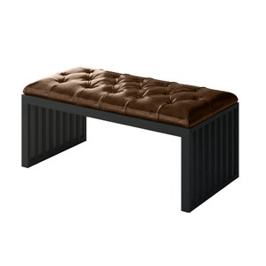 Ahumada Leather Tufted Upholstery Bench by Everly Quinn