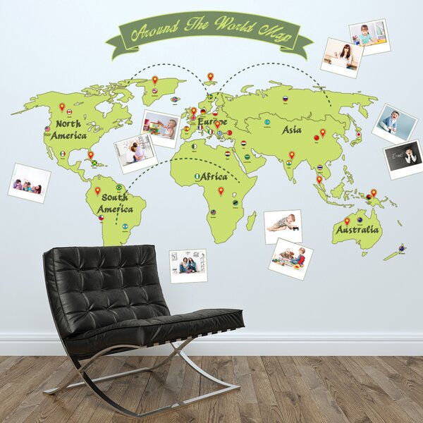 Walplus Around The World Map Wall Decal Wayfair - World map wallpaper decal