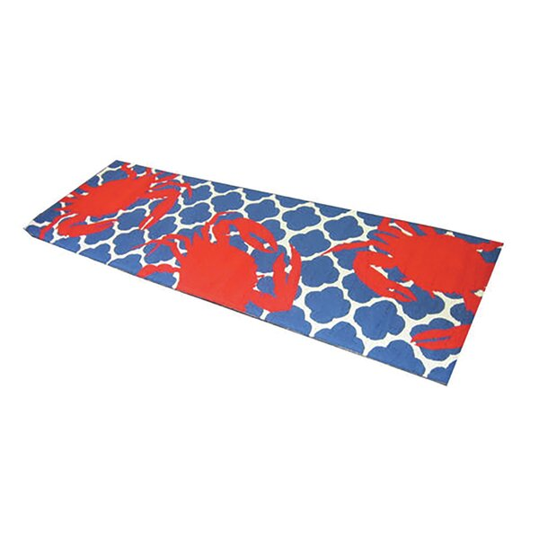 Kara Ogee Hand-Hooked Wool Red/Blue Area Rug by Breakwater Bay